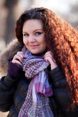 Outdoor portrait of young pretty beautiful woman — Stock Photo
