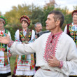 Ukrainian folk group in costumes — Stock Photo