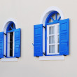 Blue greek style window — Stock Photo