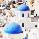 klasyczny styl grecki kościół w santorini, Grecja — Zdjęcie stockowe #33432387