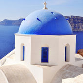 Santorini with churches and sea view in Greece — Stock Photo