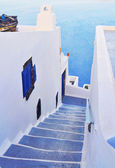 Steps and terrace on Santorini island — Stock Photo