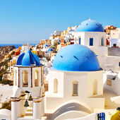 Classical Greek style church in Santorini, Greece — Stock Photo