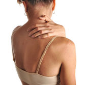 Acute pain in a neck — Stock Photo