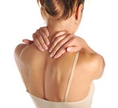 Acute pain in a neck at the young women — Stock Photo