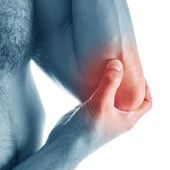 Pain in elbow — Stock Photo