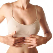 Pain in woman abdomen — Stock Photo