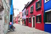 Multicolored houses of Burano island. Venice. Italy. — Stock Photo