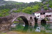 Arched bridge reflected in Crnojevica river, Montenegro, Balkans — Stock Photo