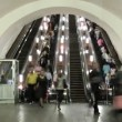 Stock Video: Subway escalator time lapse