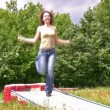 Woman with jump rope — Stockvideo