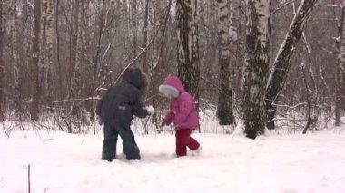 Children throw snow — Stock Video