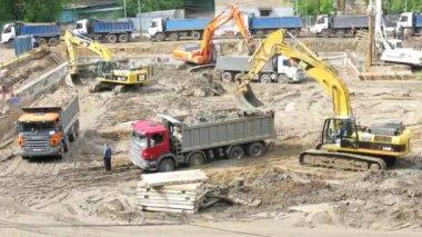 Excavators — Стоковое видео