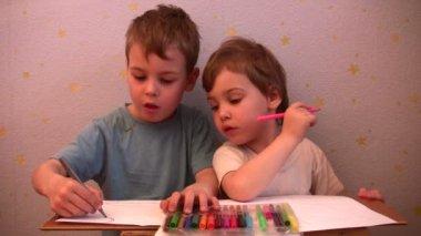 Children drawing — Stock Video