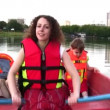 Mother with children on boat 4 — Stock Video