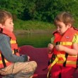 Stock Video: Children on boat