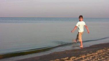 Junge am strand — Stockvideo