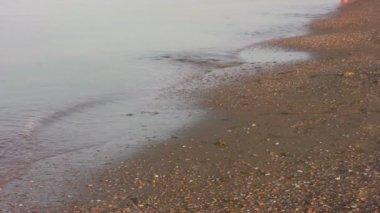 Running legs on beach — Stock Video