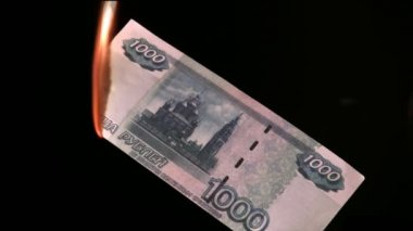 Fire rubles — Stock Video