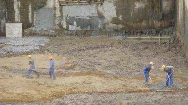 рабочие промежуток времени строительства — Стоковое видео