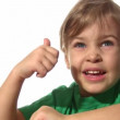 Stock Video: Little girl with ok gesture