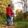 Couple rotate in autumn park — Stock Video #12321457