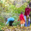 Stock Video: Mother with children throw leaves.