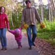 Family with little girl walking in autumn park — Stock Video