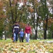 Family with boy walking in park. — Stock Video