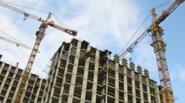 Crane construction time lapse — Stock Video