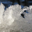 Melting ice on window in sunshines. Time lapse — Stock Video