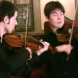 Stock Video: Violinists and violoncellist. Panorama