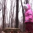 Little girl jump from stub in winter park — Stock Video #12358048