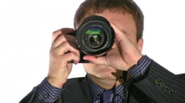 Businesman with photo camera — Stok video