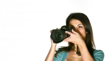 Woman with photo camera — Stock Video