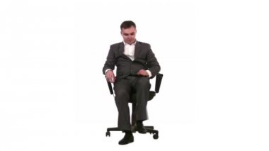 Businessman on chair — Stock Video
