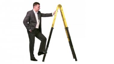 Businessman with stepladder — Vídeo Stock