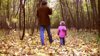 Walking father with little girl in autumn park — Stock Video