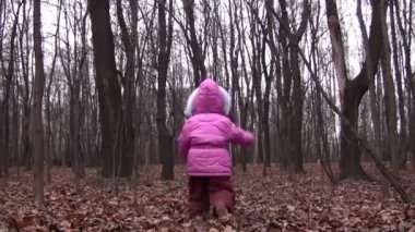 Behind walking father and little girl in winter park — Stock Video
