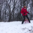 Woman on sled strikes camera — Stock Video