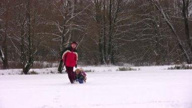 Vater mit kindern auf schlitten — Stockvideo