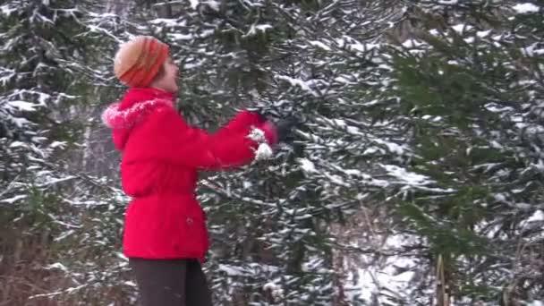 Mujer camina en el parque de invierno — Vídeo de stock