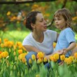 Royalty-Free Stock Vector Image: Woman talking with little girl in park among blossoming tulips