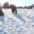 Mother and son ride with mountains on sled — Stockvideo