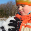 Boy makes snowball — Stock Video #13786775