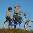 Boy and girl sitting on the bicycle, like they are riding — Stock Video #13786807