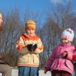 Family of four do snowball — Stockvideo