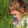 Girl drinking water from bottle close-up — Stock Video