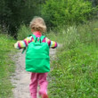 Little girl with rucksack running in park from camera — Stock Video