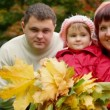 Family of three person with autumn leafs in park - Stock Photo